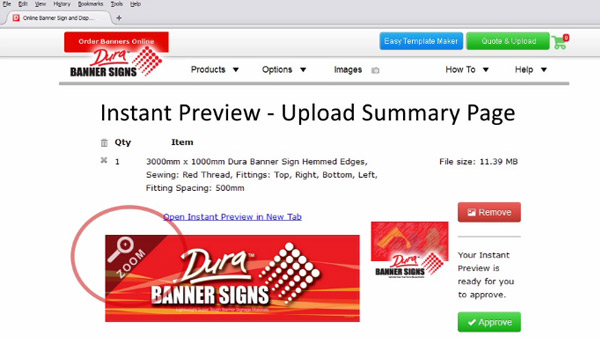 You click the Instant Preview Zoom to inspect your banner sign design.